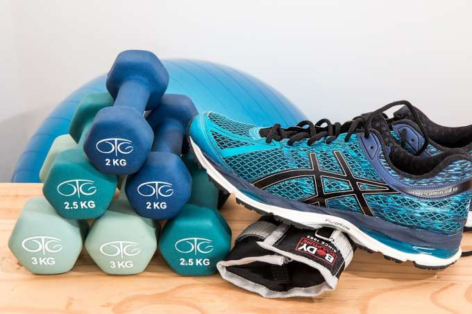 Exercise shoes and dumbbells